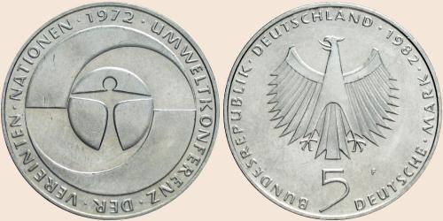 Münzkatalog Online 5 Deutsche Mark 1982 10 Jahrestag Der
