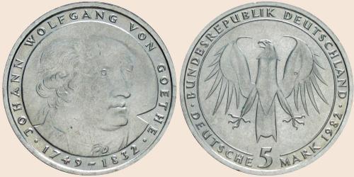 Münzkatalog Online 5 Deutsche Mark 1982 150 Todestag Von Johann
