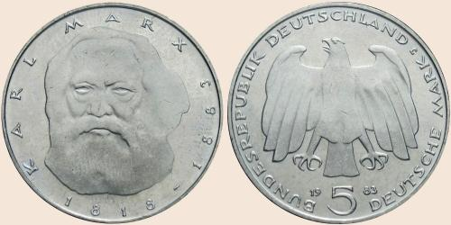 Münzkatalog Online 5 Deutsche Mark 1983 100 Todestag Von Karl Marx