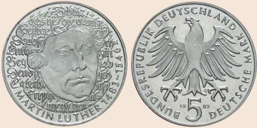 Münzkatalog Online 5 Deutsche Mark 1983 500 Geburtstag Von Martin