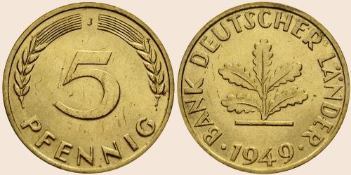 Münzkatalog Online 5 Pfennig 1949