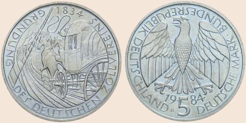 Münzkatalog Online 5 Deutsche Mark 1984 150 Jahrestag Der