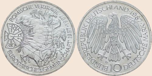 Münzkatalog Online 10 Deutsche Mark 1987 30 Jahrestag Der