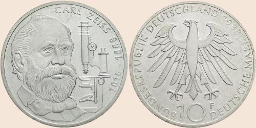 Münzkatalog Online 10 Deutsche Mark 1988 100 Todestag Von Carl Zeiss