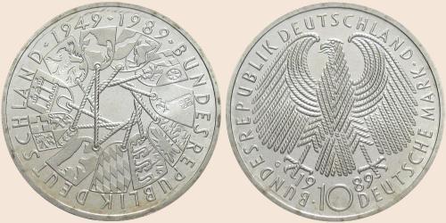 Münzkatalog Online 10 Deutsche Mark 1989 40jähriges Bestehen Der