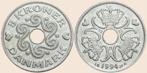 Münzkatalog Online 5 Kroner 1990 2001