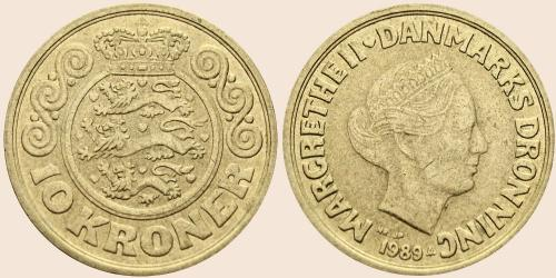 Münzkatalog Online 10 Kroner 1989 1993