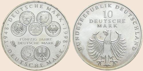 Münzkatalog Online 10 Deutsche Mark 1998 50 Jahre Deutsche Mark