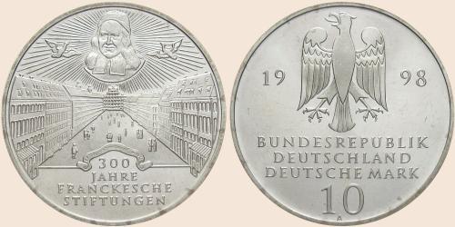 Münzkatalog Online 10 Deutsche Mark 1998 300 Jahre Franckesche