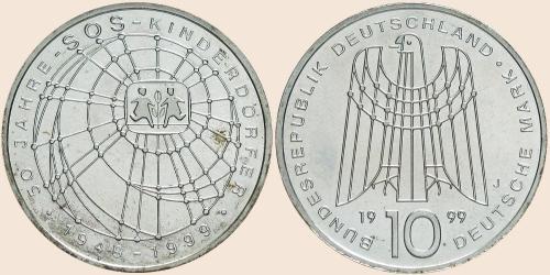 Münzkatalog Online 10 Deutsche Mark 1999 50 Jahre Sos Kinderdörfer