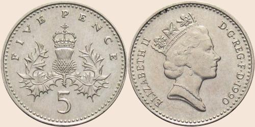 Münzkatalog Online 5 Pence 1990 1997