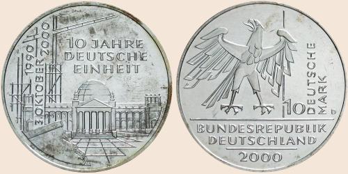 Münzkatalog Online 10 Deutsche Mark 2000 10 Jahre Deutsche Einheit