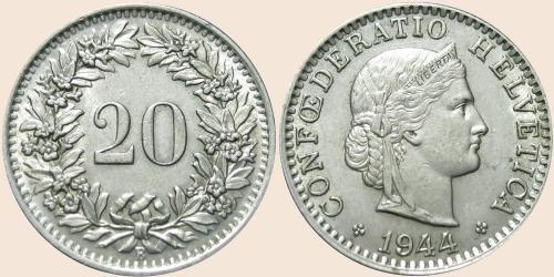 Münzkatalog Online 20 Rappen 1939