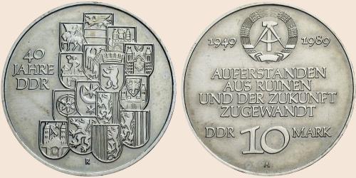 Münzkatalog Online 10 Mark 1989 40 Jahre Ddr