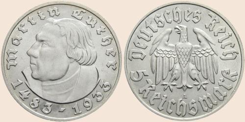 Münzkatalog Online 5 Reichsmark 1933 450 Geburtstag Von Martin Luther