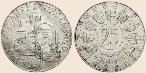 Münzkatalog Online 25 Schilling 1961 40 Jahre Burgenland