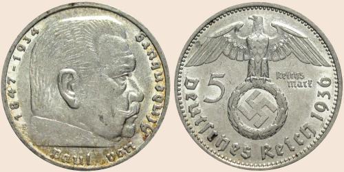 Münzkatalog Online 5 Reichsmark 1936 1939