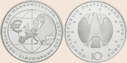 Münzkatalog Online 10 Euro 2002 übergang Zur Währungsunion