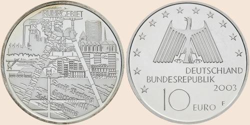 Münzkatalog Online 10 Euro 2003 Industrielandschaft Ruhrgebiet