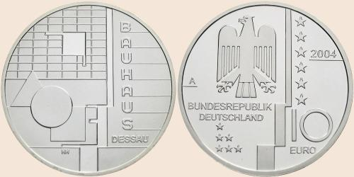 Münzkatalog Online 10 Euro 2004 Bauhaus Dessau