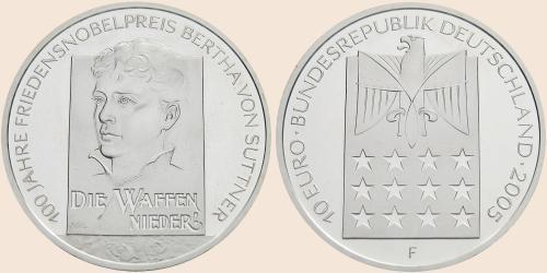 Münzkatalog Online 10 Euro 2005 100 Jahreestag Friedensnobelpreis