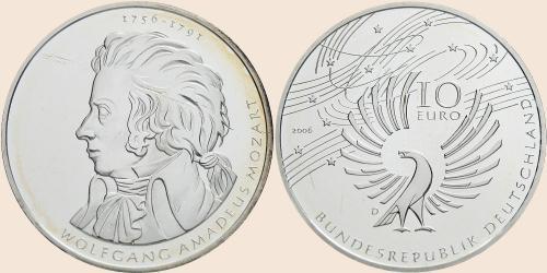 Münzkatalog Online 10 Euro 2006 250 Geburtstag Wolfgang Amadeus