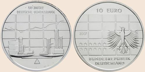 Münzkatalog Online 10 Euro 2007 50 Jahre Deutsche Bundesbank