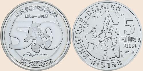 Münzkatalog Online 5 Euro 2008 50 Jahre Schlümpfe
