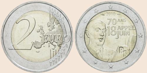 Münzkatalog Online 2 Euro 2010 70 Jahrestag Des Appells Vom 18 Juni