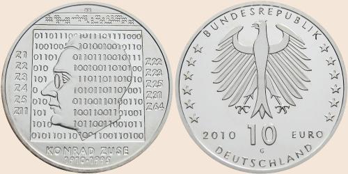 Münzkatalog Online 10 Euro 2010 100 Geburtstag Von Konrad Zuse