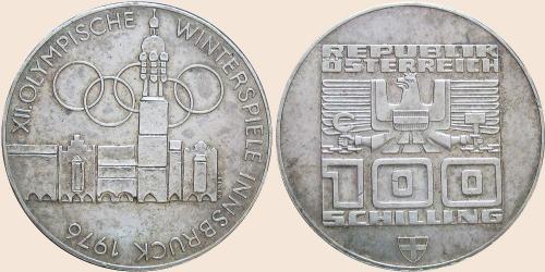 Münzkatalog Online 100 Schilling 1976 Xii Olympische Winterspiele