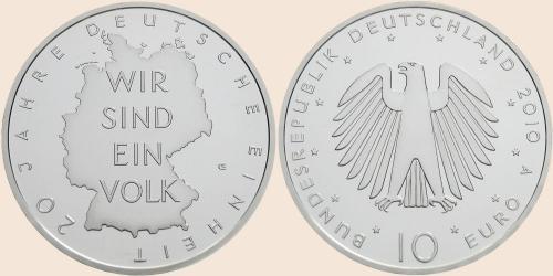 Münzkatalog Online 10 Euro 2010 20 Jahre Deutsche Einheit