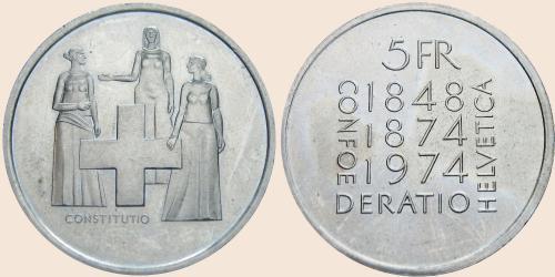 Münzkatalog Online 5 Franken 1974 Verfassungsrevision
