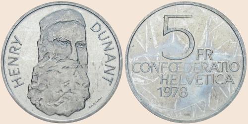 Münzkatalog Online 5 Franken 1978 Henry Dunant