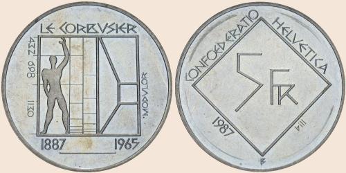 Münzkatalog Online 5 Franken 1987 Le Corbusier