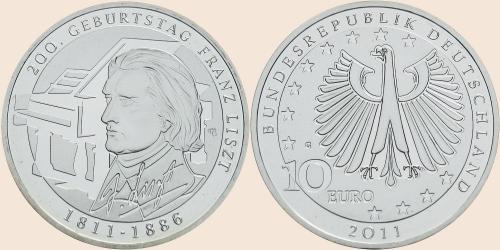 Münzkatalog Online 10 Euro 2011 200 Geburtstag Franz Liszt