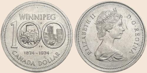 Münzkatalog Online 1 Dollar 1974 100 Jahre Winnipeg