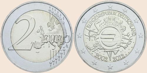 Münzkatalog Online 2 Euro 2012 10 Jahre Euro Bargeld