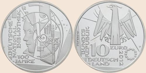 Münzkatalog Online 10 Euro 2012 100 Jahre Deutsche Nationalbibliothek