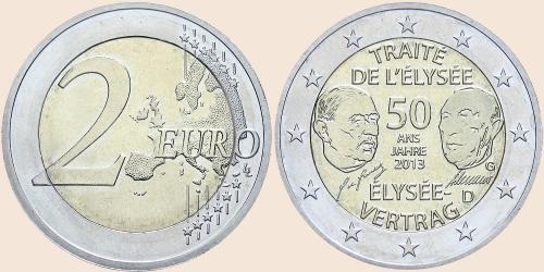 Münzkatalog Online 2 Euro 2013 50 Jahre Elysee Vertrag