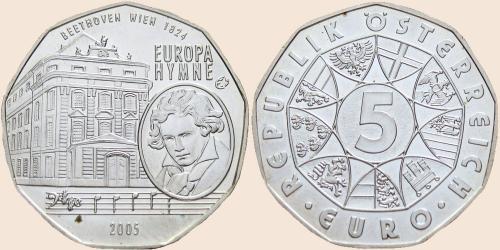 Münzkatalog Online 5 Euro 2005 Europahymne Ludwig Van Beethoven