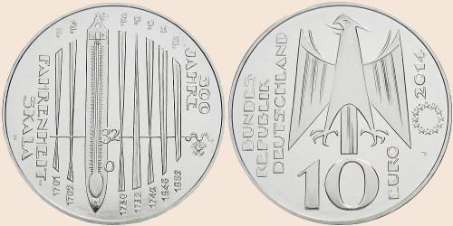 Münzkatalog Online 10 Euro 2014 300 Jahre Fahrenheit Skala
