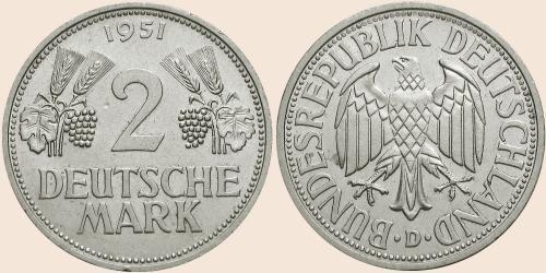 Münzkatalog Online 2 Deutsche Mark 1951