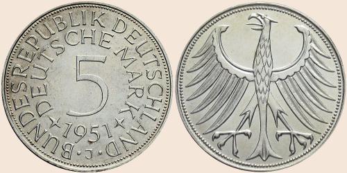 Münzkatalog Online 5 Deutsche Mark 1951 1974