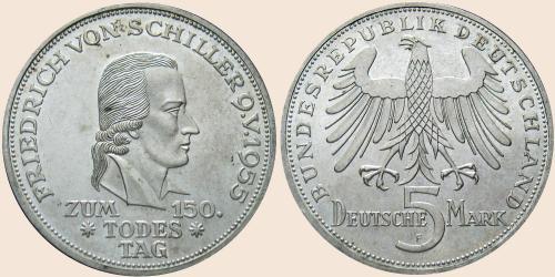 Münzkatalog Online 5 Deutsche Mark 1955 150 Todestag Von
