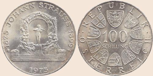 Münzkatalog Online 100 Schilling 1975 Johann Strauß Jahr 1975