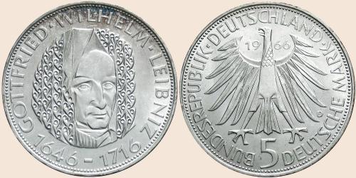 Münzkatalog Online 5 Deutsche Mark 1966 250 Todestag Von