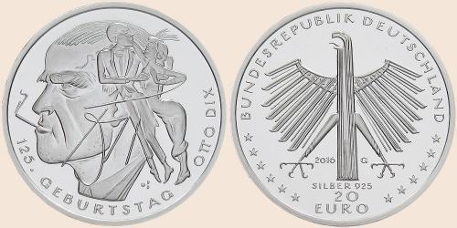 Münzkatalog Online 20 Euro 2016 125 Geburtstag Otto Dix