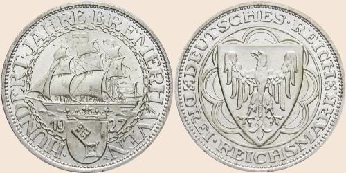 Münzkatalog Online 3 Reichsmark 1927 100 Jahre Bremerhaven