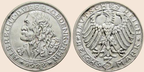 Münzkatalog Online 3 Reichsmark 1928 400 Todestag Von Albrecht Dürer